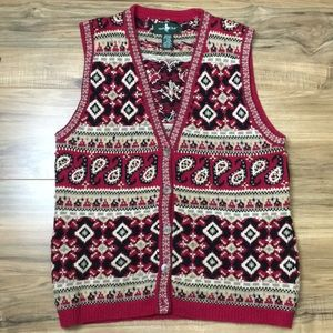 Vintage Hunt Club Knit Paisley Sweater Vest Sz M